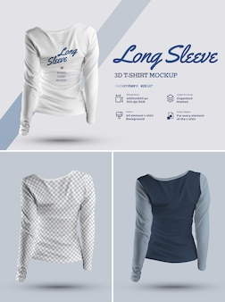 3d t-shirt met lange mouwen mockup-ontwerp is eenvoudig in het aanpassen van afbeeldingen, t-shirt, t-shirt en mouw kleur van alle elementen thsirt heide textuur