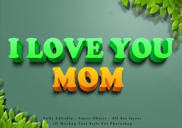 3d te amo efecto de estilo de texto de mamá