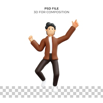 3d-tekenfilmfiguur poseert gelukkig premium psd