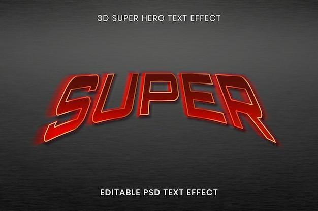 3d-teksteffect psd-sjabloon, superheld bewerkbare typografie van hoge kwaliteit