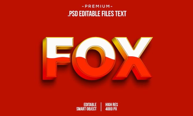 3d-tekststijleffect, 3d-lettertype-effect mockup, bewerkbare 3d psd oranje-tekststijleffect, elegant rood geel abstract 3d-teksteffect instellen
