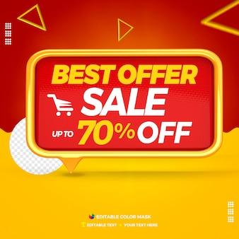 3d-tekstvak beste aanbieding front met tot 70 procent korting Premium Psd
