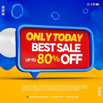 3d-tekstvak beste verkoop links blauw met tot 80 procent korting