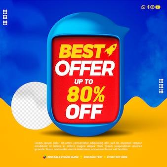 3d-tekstvak blauw geweldige aanbieding met tot 80 procent korting