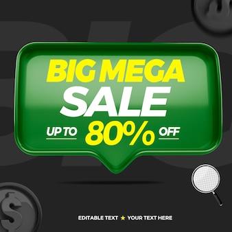 3d-tekstvak grote mega-verkoop met maximaal 80 procent