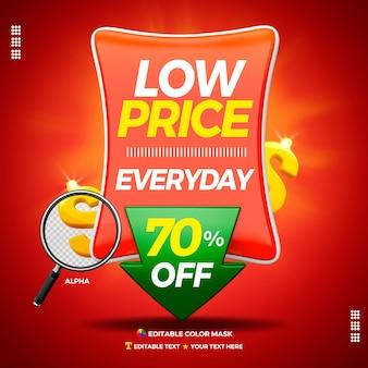 3d-tekstvak lage prijs elke dag met maximaal 70 procent
