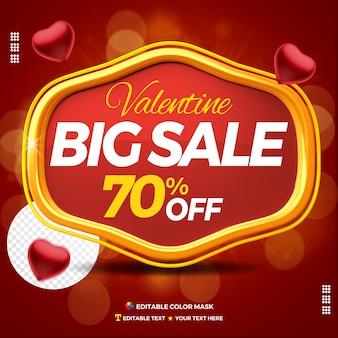 3d-tekstvak valentijn grote verkoop met maximaal 70 procent korting