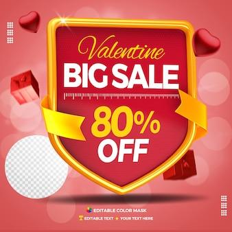 3d-tekstvak valentijn grote verkoop met maximaal 80 procent korting