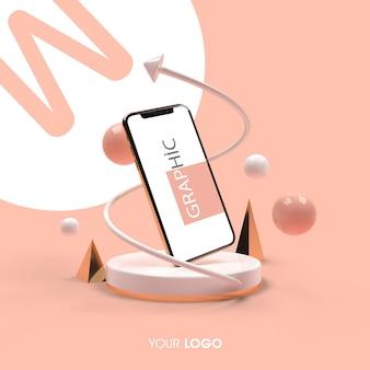 3d telefoon mockup rendering ontwerp