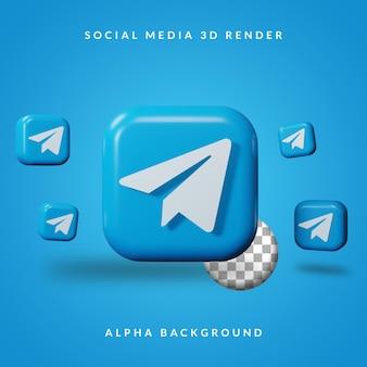 3d telegram-toepassingslogo met alpha-achtergrond