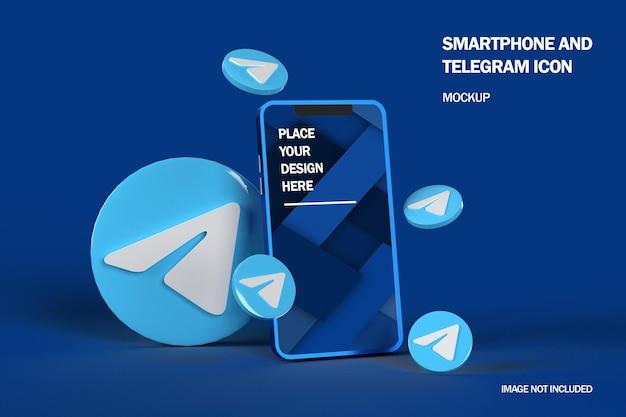 3d telegrampictogrammen met mobiel smartphonemodel