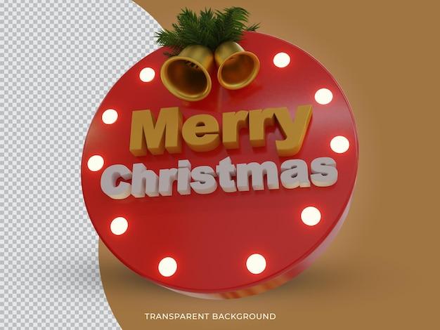3d teruggegeven geïsoleerd vrolijk kerstfeest 3d tekstpictogram met bell