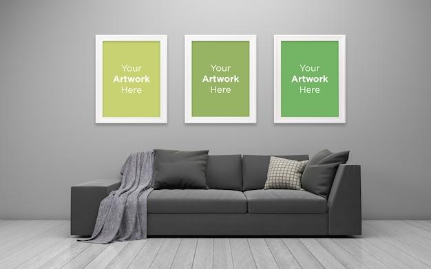 3d teruggegeven van interieur van moderne woonkamer drie lege fotolijst mockup design