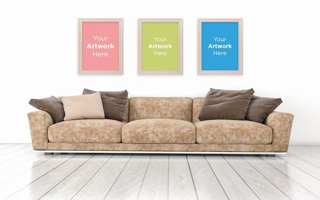 3d teruggegeven van interieur van moderne woonkamer lege fotolijst mockup design