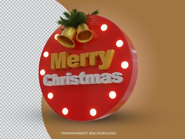 3d teruggegeven vrolijk kerstfeest 3d tekstpictogram met bel