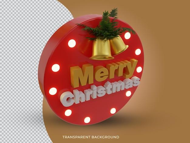 3d teruggegeven vrolijk kerstfeest 3d tekstpictogram met zijaanzicht van de bel