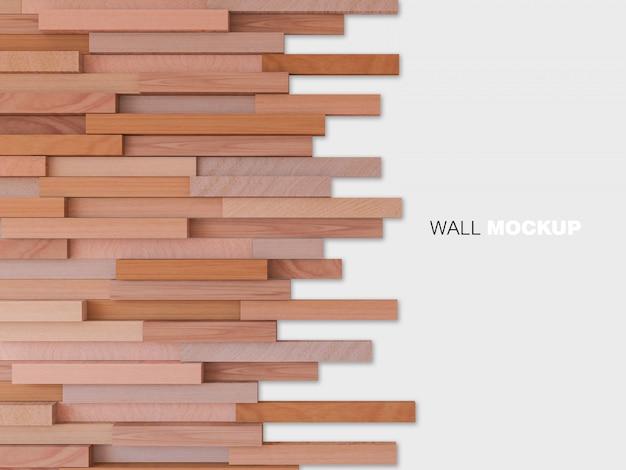3d teruggevend beeld van kubieke houten muur Premium Psd