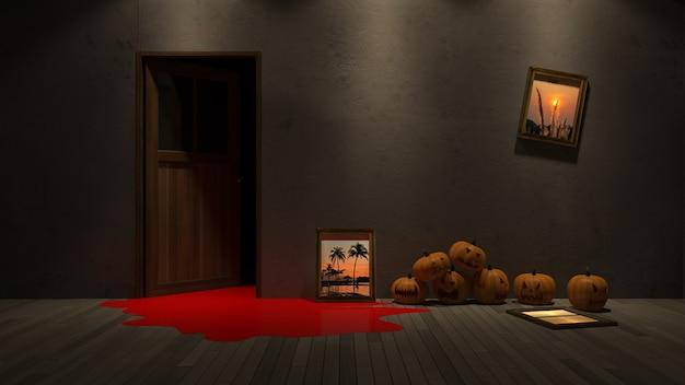 3d teruggevend beeld van pompoenhoofd op het froor en het fotoframe mockup op de muur.