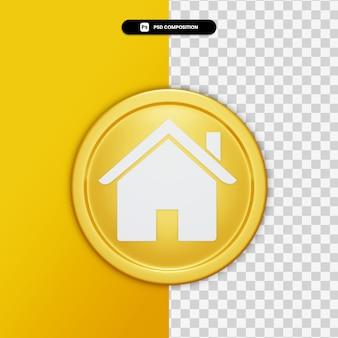 3d teruggevend huispictogram op gouden geïsoleerde cirkel