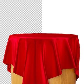 3d teruggevend podium met rode zijdestof geïsoleerde illustratie