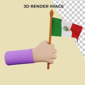 3d teruggevende hand met het concept van de nationale dag van mexico