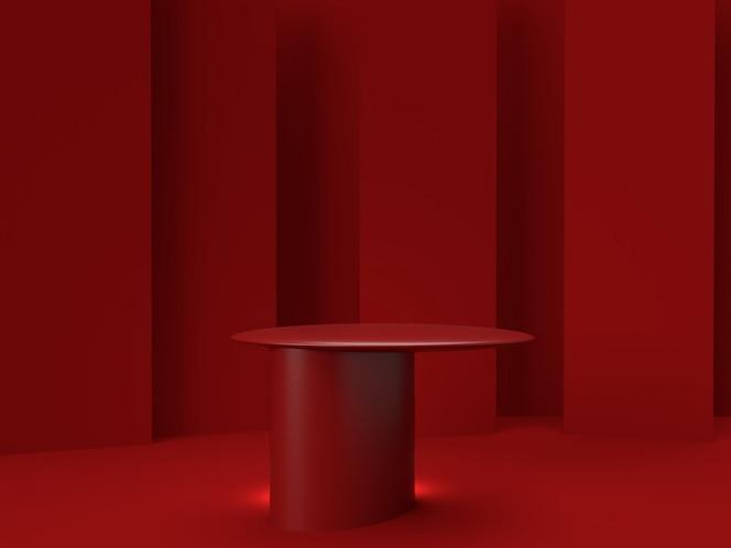 3d teruggevende rode producttribune op achtergrond.