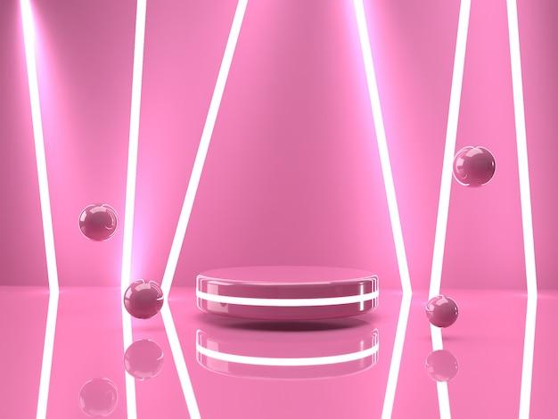 3d teruggevende roze producttribune op achtergrond.
