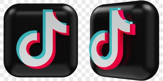 3d tiktok-pictogrammen in twee hoeken aan de voorkant en driekwart geïsoleerde illustraties