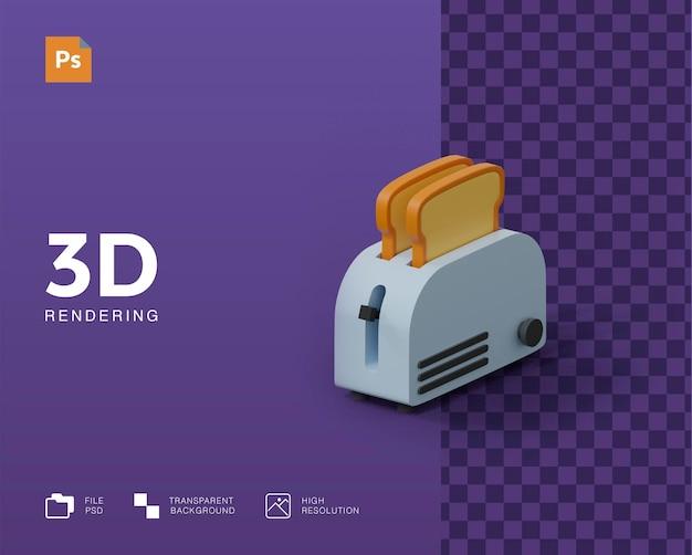 3d toast broodmachine illustratie Premium Psd