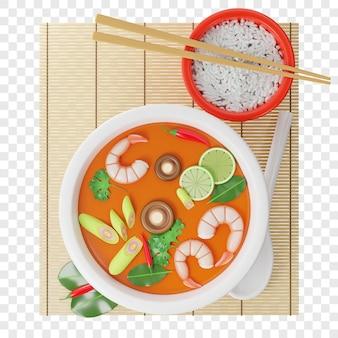 3d tom yam kung-soep in een boeddhakom naast een bord rijststokjes een lepel chilipepers