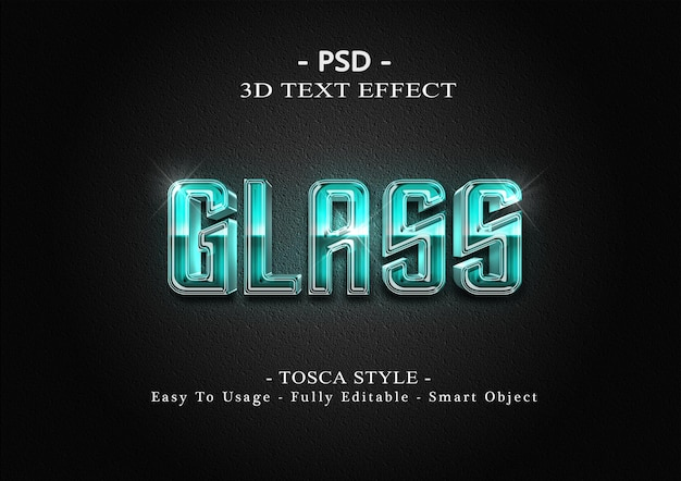 3d tosca glas tekst stijl effect sjabloon