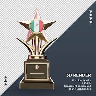 3d-trofee mexico vlag rendering vooraanzicht