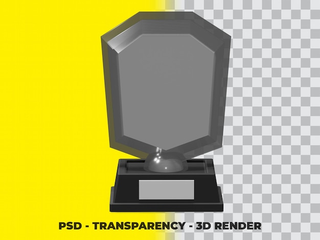 3d-trofee van kristalglas met transparantie render-modellering premium psd