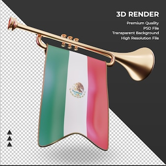 3d-trompet mexico vlag weergave linker weergave