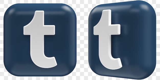 3d tumbl-pictogrammen in twee hoeken vooraan en driekwart geïsoleerde illustraties