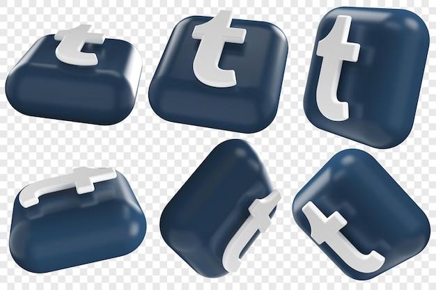 3d tumbl-pictogrammen in zes verschillende hoeken geïsoleerde illustraties