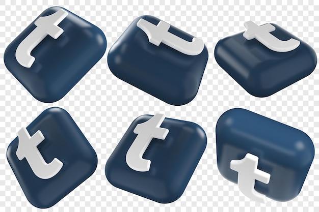 3d tumblr-pictogrammen in zes verschillende hoeken geïsoleerde illustraties