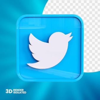 3d twitter app knop ontwerp