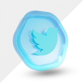 3d twitter logo glas acryl geïsoleerd