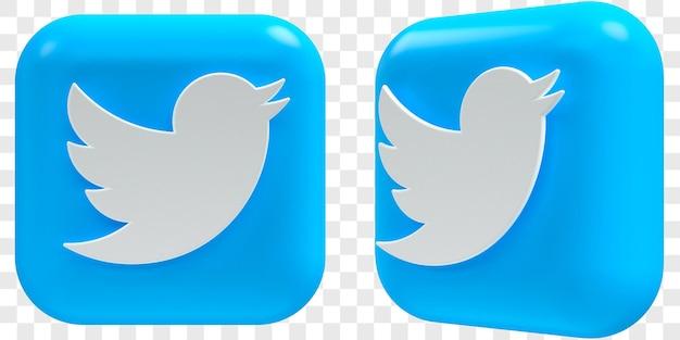 3d twitter-pictogrammen in twee hoeken aan de voorkant en driekwart geïsoleerde illustraties
