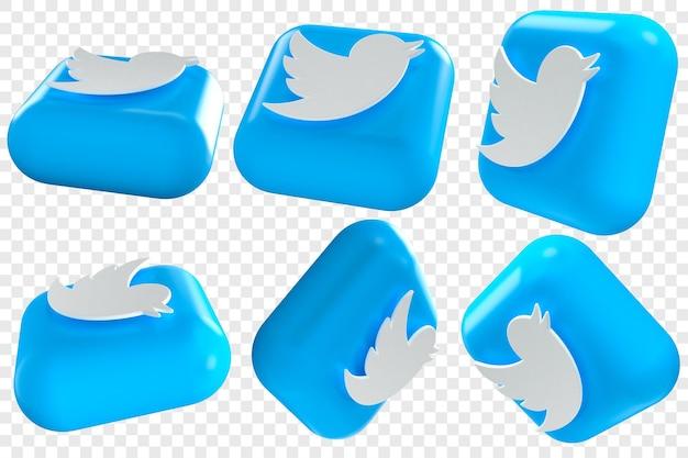 3d twitter-pictogrammen in zes verschillende hoeken geïsoleerde illustraties
