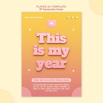 3d typografie ontwerp flyer