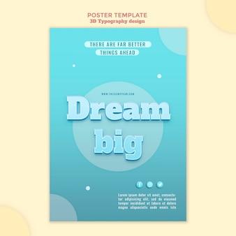 3d typografie ontwerp poster