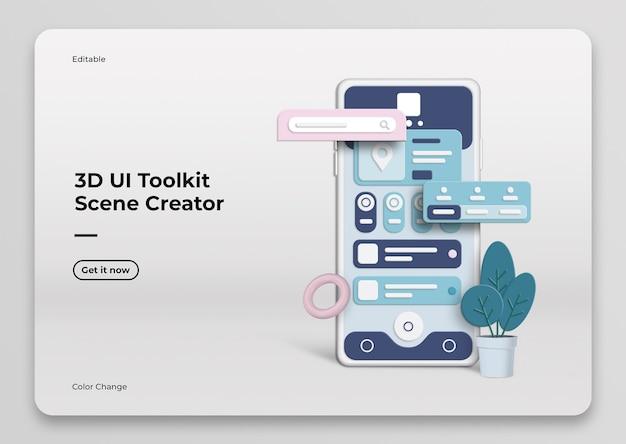 3d ui toolkit scene creator mockup