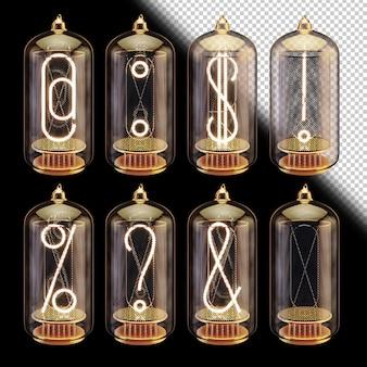 3d vacuümbuizen lettertype met gloeiende symbolen