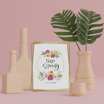 3d vazen en gebladerte met hallo lente kaart mock-up