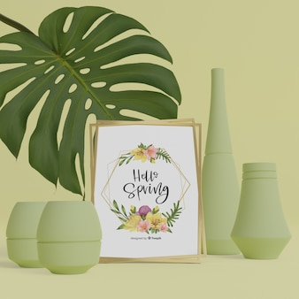 3d vazen en gebladerte met hallo lente kaart