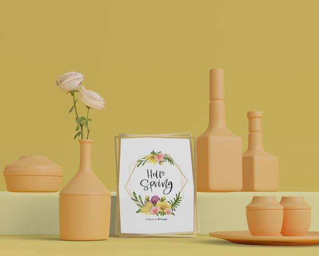 3d vazen voor bloemen op tafel