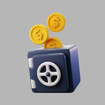 3d veilige doos met gouden dollarmuntstukken