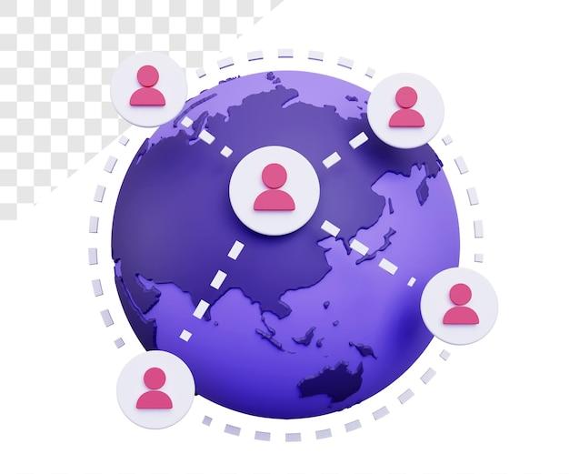 3d-verbinding met globe